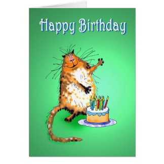 crazy cat and Birthday cake and candles, humor, Greeting Card