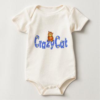 Crazy Cat Blue Text  -  Baby T-shirt Creeper