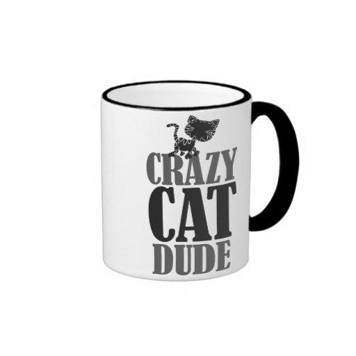 Crazy cat dude coffee mugs