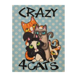 Crazy Cat Friends Wood Canvas Art