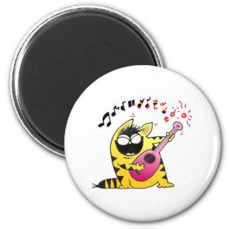 Crazy Cat Guitarist 6 Cm Round Magnet