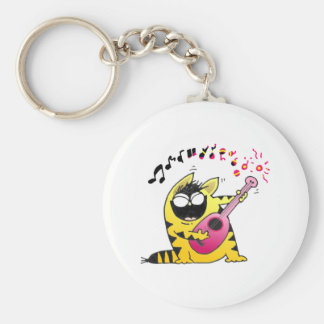 Crazy Cat Guitarist Basic Round Button Key Ring
