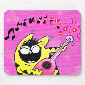Crazy Cat Guitarist Mouse Pad