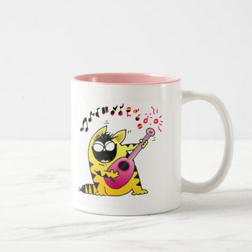 Crazy Cat Guitarist Coffee Mugs