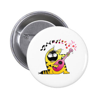 Crazy Cat Guitarist Pinback Button