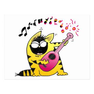 Crazy Cat Guitarist Post Cards