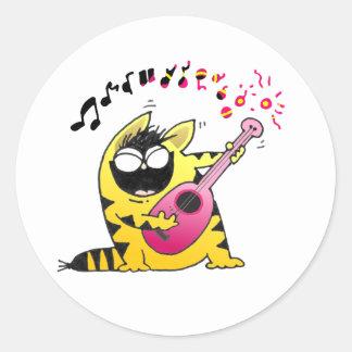 Crazy Cat Guitarist Round Sticker