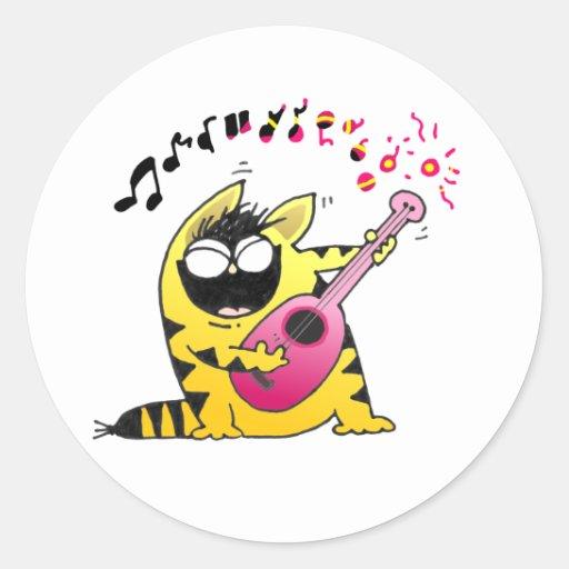 Crazy Cat Guitarist Sticker