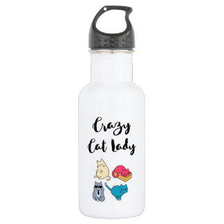 Crazy Cat Lady and 4 Cute Cats 532 Ml Water Bottle