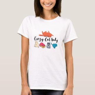 Crazy Cat Lady and 4 Cute Cats and Orange Tabby T-Shirt