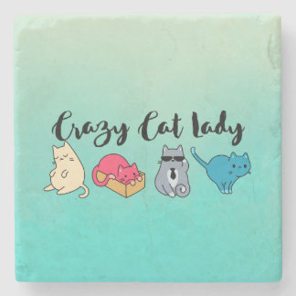 Crazy Cat Lady and 4 Cute Cats Stone Coaster