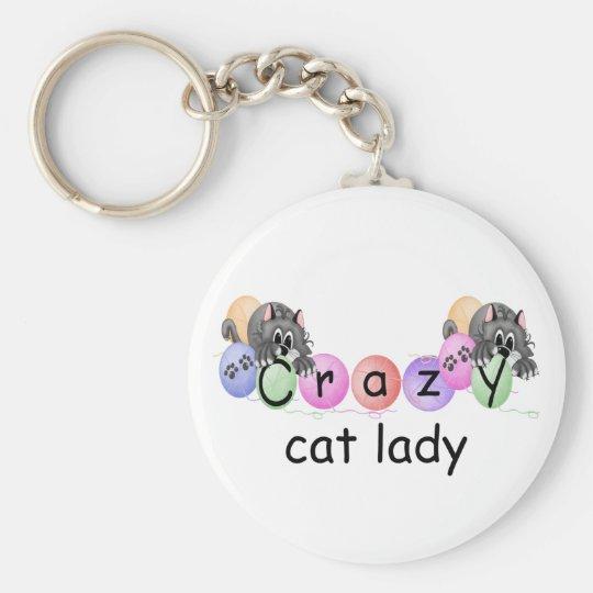 Crazy Cat Lady Basic Round Button Key Ring