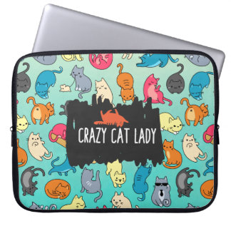 Crazy Cat Lady Cute and Playful Cat Pattern Laptop Sleeve