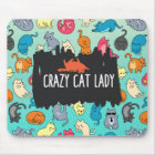 Crazy Cat Lady Cute and Playful Cat Pattern Mouse Mat