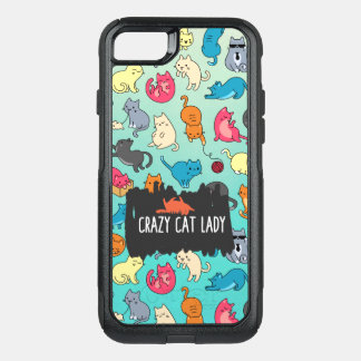 Crazy Cat Lady Cute and Playful Cat Pattern OtterBox Commuter iPhone 8/7 Case