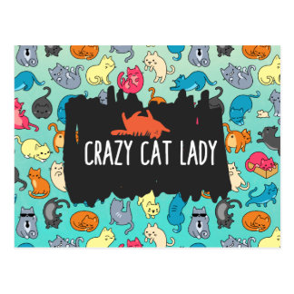 Crazy Cat Lady Cute and Playful Cat Pattern Postcard