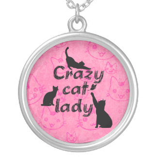 Crazy Cat Lady Fun Funny and Cool Playful Cats Silver Plated Necklace