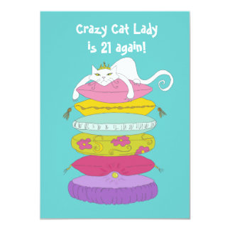 Crazy cat lady funny birthday party Invites