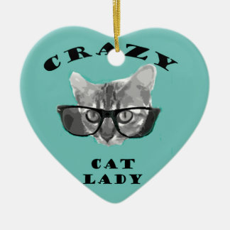 Crazy Cat Lady Funny Slogan with Hipster Glasses Ceramic Heart Decoration