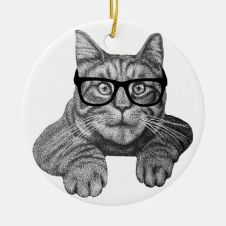 crazy cat lady geek cat christmas ornament
