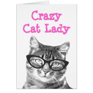 Crazy cat lady greeting card design