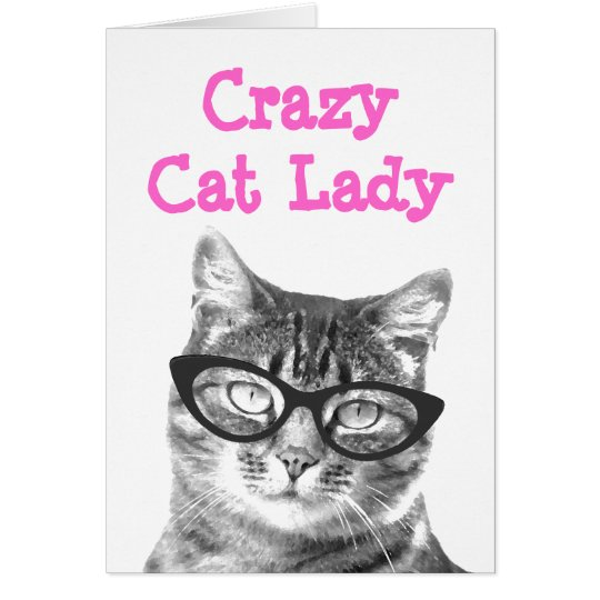 Crazy cat lady greeting card design