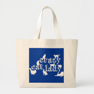 Crazy Cat Lady (in all colours) Large Tote Bag