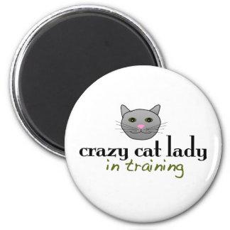 Crazy cat lady in training 6 cm round magnet