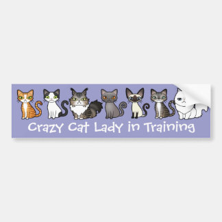 Crazy Cat Lady in Training (design your own cat) Bumper Sticker