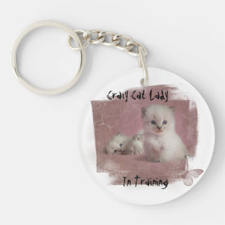 Crazy Cat Lady In Training Double-Sided Round Acrylic Key Ring