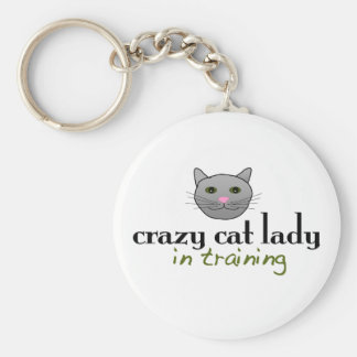 Crazy cat lady in training basic round button key ring