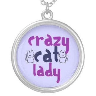 Crazy cat Lady Round Pendant Necklace