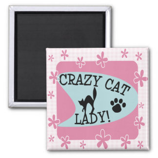 Crazy Cat Lady - Retro Square Magnet