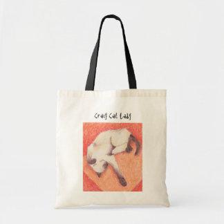 Crazy Cat Lady siamese orange tote bags