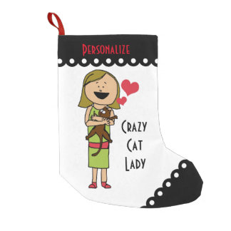 Crazy Cat Lady Small Christmas Stocking