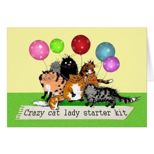 Crazy cat lady starter kit. cats, balloons. humour