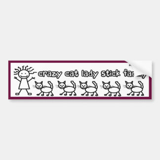 Crazy Cat Lady Stick Family Funny Cartoon Bumper Sticker