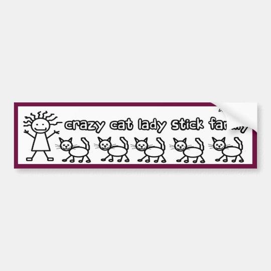 Crazy Cat Lady Stick Family Funny Cartoon Bumper