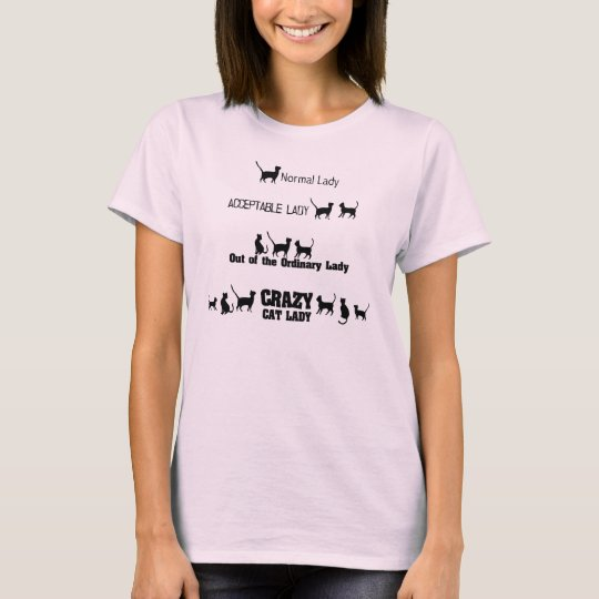 Crazy Cat Lady Tee with Cat Silhouettes Print