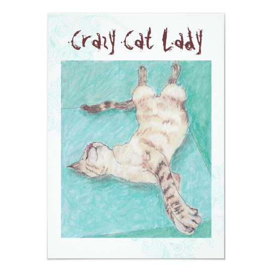 Crazy Cat Lady turquoise indie birthday invites