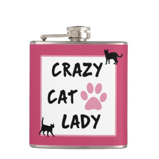Crazy Cat Lady Vinyl Wrapped Flask