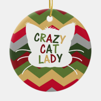 Crazy Cat Lady with Christmas Color Chevron Christmas Ornament