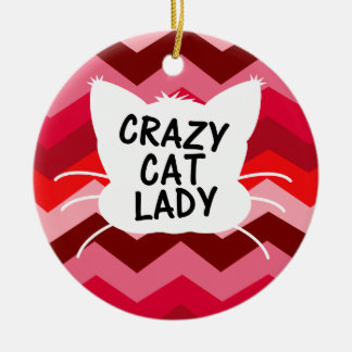 Crazy Cat Lady with Red Chevron Pattern Christmas Ornament