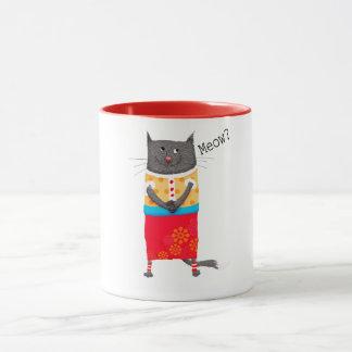 Crazy cat, Meow. humor. Mug
