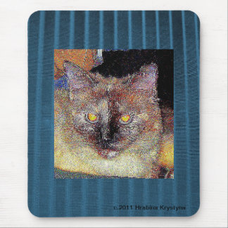CRAZY CAT ON BLUE MOUSEPAD