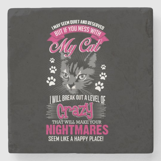 Crazy Cat Stone Coaster