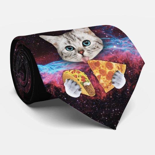 Crazy Cat Taco Pizza Space Tie