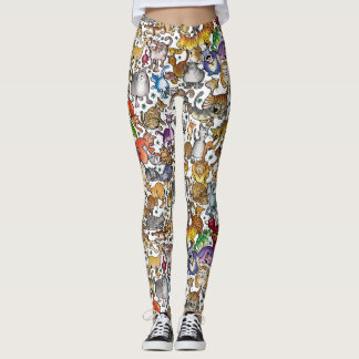 """""""Crazy Cats"""" Leggings (White Background)"""