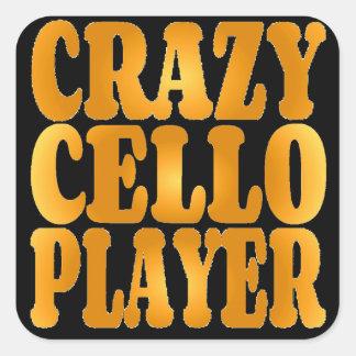 Crazy Cello Player in Gold Square Sticker