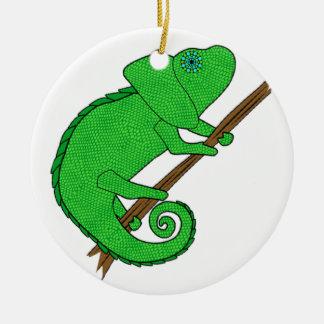 Crazy Chameleon Round Ceramic Decoration